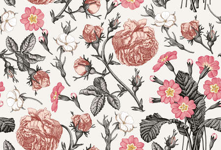 Seamless pattern. Beautiful fabric blooming realistic isolated flowers. Vintage background. Rose primrose primula wildflowers. Wallpaper baroque bouquet Drawing engraving Vector victorian Illustration