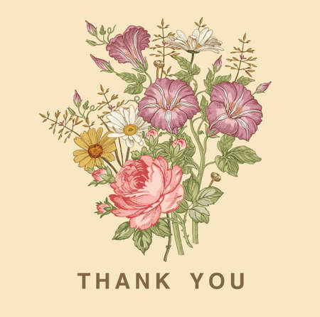 Thank you love. Wedding marriage invitation bouquet. Beautiful blooming flowers Vintage greeting card Frame Drawing engraving Petunia Chamomile Rose isolated floral Wallpaper. Vector Illustration.