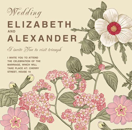 Wedding marriage invitation. Beautiful blooming flowers baroque. Vintage greeting card Frame Drawing engraving. Primula, hibiscus, heliotrope isolated floral. Wallpaper background Vector Illustration