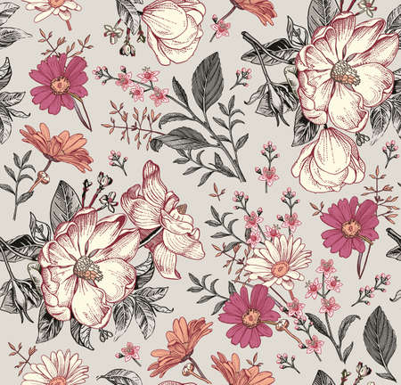 Seamless pattern. Realistic blooming isolated flowers Vintage fabric background. Rosehip dogrose brier chamomile croton wildflowers. Drawing engraving. Vector victorian Illustration