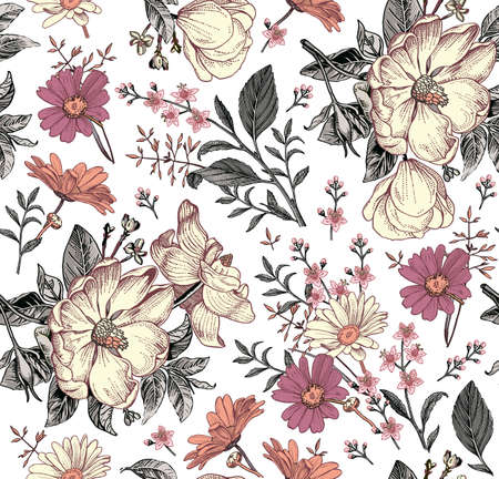 Seamless pattern. Realistic blooming isolated flowers Vintage fabric background. Rosehip dogrose brier chamomile croton wildflowers. Wallpaper baroque. Drawing engraving. Vector victorian Illustration