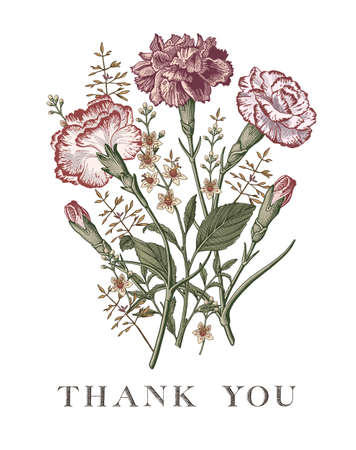 Wedding bouquet Thank You love. Beautiful blooming flowers. Drawing engraving. Carnation clove Croton isolated floral. Wallpaper background. Vector illustration.