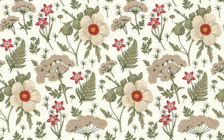 Seamless pattern fabric. Beautiful realistic isolated flowers. Vintage background. Hibiscus, Wahlenbergia Hemlock fern wildflowers. Wallpaper baroque. Drawing engraving. Vector victorian illustration Illustration