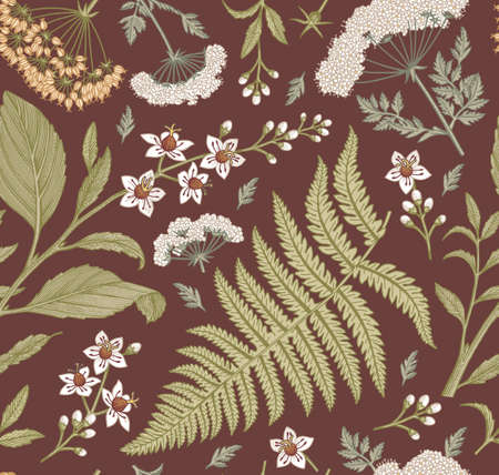 Seamless pattern fabric. Beautiful blooming realistic isolated flowers. Vintage background. Set Croton Hemlock fern wildflowers. Wallpaper baroque.