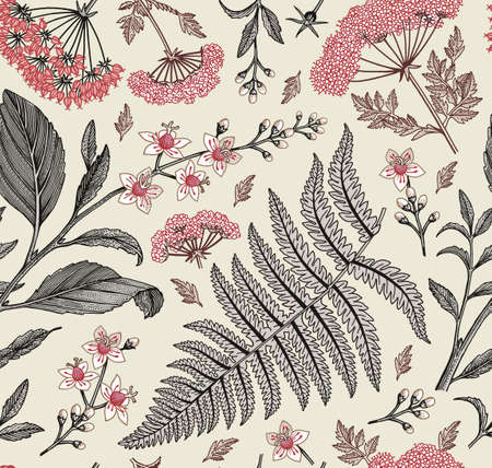 Seamless pattern fabric. Beautiful blooming realistic isolated flowers. Vintage background. Set Croton Hemlock fern wildflowers. Wallpaper baroque.