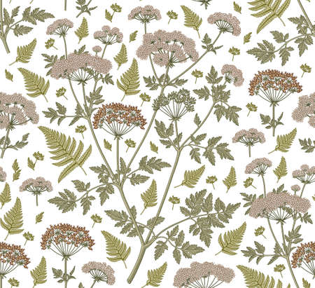 Seamless pattern fabric. Beautiful blooming realistic isolated flowers plant. Vintage background. Set Fern Hemlock. Wallpaper baroque.