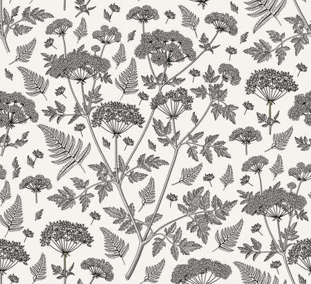 Seamless pattern fabric. Beautiful blooming realistic isolated flowers plant. Vintage background. Set Fern Hemlock. Wallpaper baroque. Stock Vector - 155463799