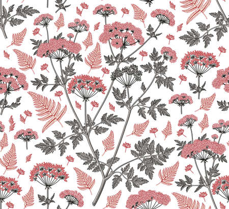 Seamless pattern fabric. Beautiful blooming realistic isolated flowers plant. Vintage background. Set Fern Hemlock. Wallpaper baroque. Drawing engraving tropical exotic. Vector victorian illustration. Stock Vector - 155613399
