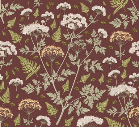 Seamless pattern fabric. Beautiful blooming realistic isolated flowers plant. Vintage background. Set Fern Hemlock. Wallpaper baroque. Drawing engraving tropical exotic. Vector victorian illustration.