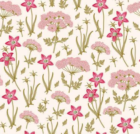 Seamless pattern fabric. Beautiful blooming realistic isolated flowers. Vintage background. Set Wahlenbergia Hemlock wildflowers. Wallpaper baroque. Drawing engraving. Vector victorian illustration. Illustration