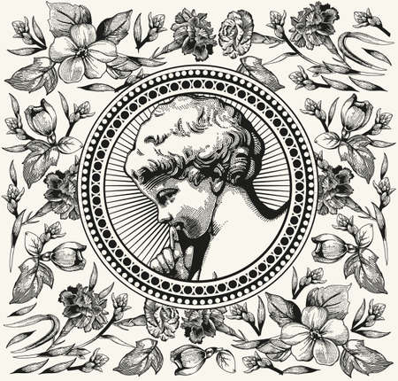 Angel Wedding. Boy baby child birthday. Frame baroque. Drawing engraving. Vintage background realistic flowers. Wildflowers victorian. Carnation Apple isolated. Greeting card. Vector Illustration. 일러스트