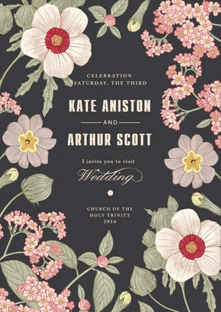 Wedding marriage invitation. Beautiful blooming flowers baroque. Vintage greeting card Frame Drawing engraving. Primula, hibiscus, heliotrope isolated floral. Wallpaper background vector Illustration Stock fotó - 155746299