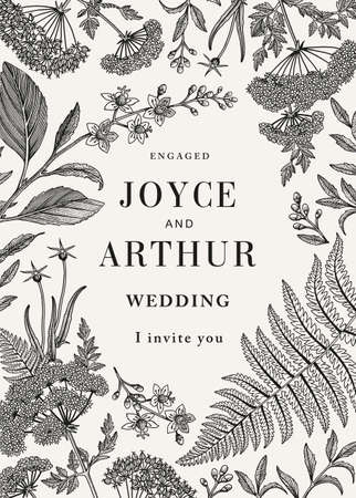 Wedding invitation. Beautiful blooming isolated flowers. Vintage greeting card. Frame marriage baroque. Drawing engraving. Fern Croton Hemlock tree plants. Wallpaper background. Vector illustration.