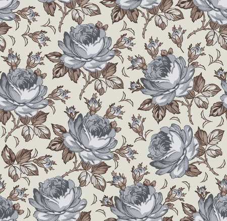 Roses. Seamless classic pattern. Beautiful pink red flowers. Vintage background realistic blooming flowers. Drawing engraving textile. Freehand. Wallpaper baroque. Vector Victorian style Illustration. Vecteurs