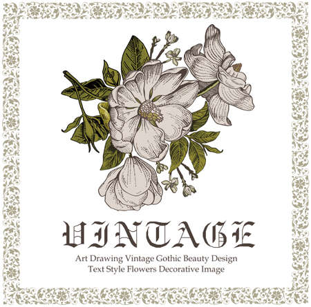 Beautiful white baroque flowers. Vintage greeting card with blooming flowers. Invitation. Frame. Drawing, engraving. Freehand. Brier, dog rose, rose hip. Flora. Vector victorian style Illustration.