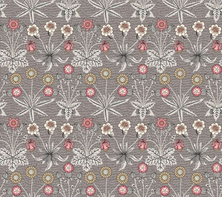 Beautiful fabric William Morris realistic isolated flowers Seamless. Vintage background pattern. Chamomile dandelion wildflowers set. Wallpaper baroque. Drawing engraving Vector victorian Illustration Illustration
