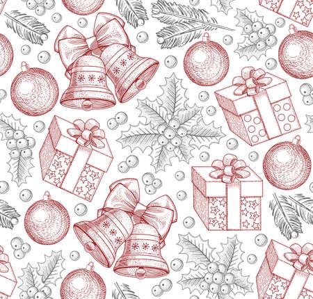 Seamless pattern of christmas decoration