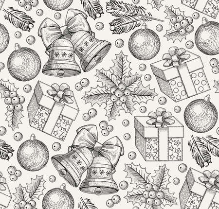 Happy New Year. Merry Christmas. Seamless Winter background. Holiday. Gifts toys bells tree realistic style. Greeting background. Set Sale. Freehand drawing engraving print. Vector Illustration