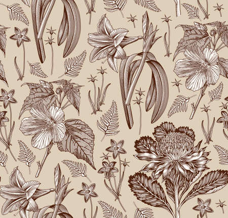 Seamless pattern fabric. Set Amaryllis Waratah Hibiscus Wahlenbergia fern. Beautiful realistic isolated tropical Exotic flowers. Vintage background. Wallpaper. Drawing engraving. Vector illustration.