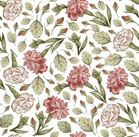 Seamless pattern. Beautiful fabric blooming realistic isolated flowers. Vintage background. Set Carnation clove wildflowers. Wallpaper baroque linear. Drawing engraving. Vector victorian illustration