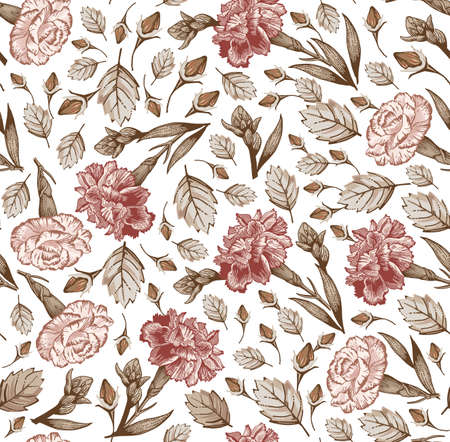 Seamless pattern. Beautiful fabric blooming realistic isolated flowers. Vintage background linear. Set Carnation clove wildflowers. Wallpaper baroque. Drawing engraving. Vector victorian illustration