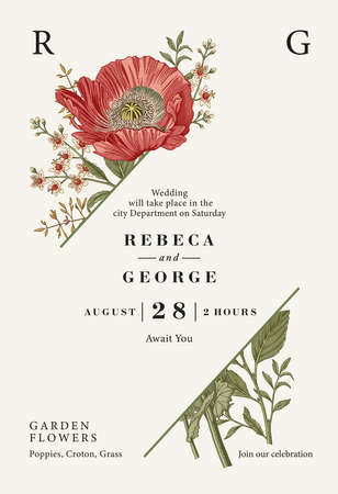 Wedding invitation. Poppy croton isolated floral. Beautiful blooming realistic flowers. Vintage greeting card. Frame. Drawing engraving. Wallpaper background baroque. Vector victorian Illustration. Illustration