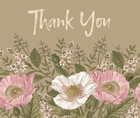 Seamless border Thank You. Poppy croton isolated floral. Wedding invitation baroque. Beautiful blooming realistic flowers. Vintage greeting card. Drawing engraving frame. Wallpaper Vector illustration Illustration