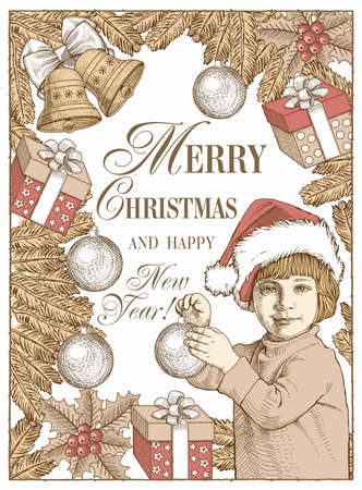 Greeting card frame. Happy New Year and Merry Christmas. Winter background. Gifts, toys bells wreath realistic. Boy dresses Christmas tree. Child Set Sale Freehand drawing. Santa. Stock Illustration. Illustration