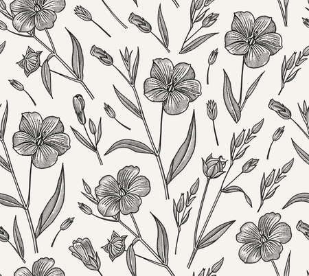 Seamless pattern. Set Linum Flax wildflowers. Beautiful fabric blooming realistic isolated flowers. Vintage background linear. Wallpaper baroque. Drawing engraving. Vector victorian illustration.