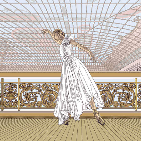 Ballerina, ballet, girl, dance, art realistic. Architecture, building, interior, stained glass. Movement, music, theater vintage retro. Engraving, drawing, sketch. Victorian vector illustration.