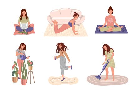 Set of women doing different home activities: working, studying, dancing, watering, vacuuming, doing exercises, meditating. Stay home and virus quarantine concept. Happy people at home. Vector illustration in flat style