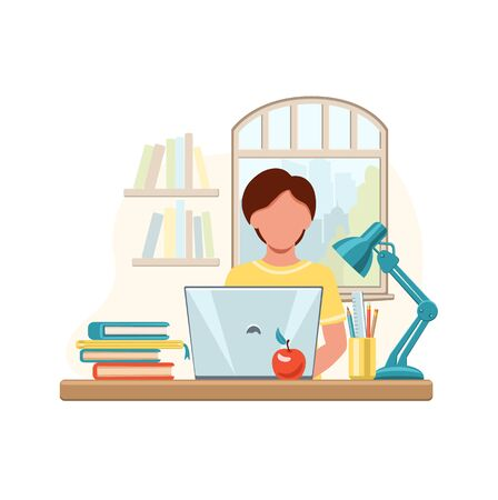 Cartoon boy studying at home with computer and books on window background. School boy writing for homework. Online education concept. Vector illustration drawing in flat style.