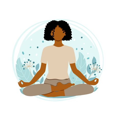 Young african american woman meditating sitting in lotus on the natural background. Girl sitting on the nature background. Concept illustration for yoga, meditation, relax and healthy lifestyle. Vector illustration in flat cartoon style.