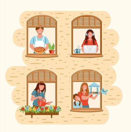 Smiling people do different pleasant things at home. People stay home to protect from viruses. People staying by the window in self quarantine. Vector illustration drawing in flat style  Illustration