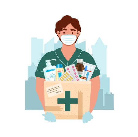 Medicine courier wearing medical mask and gloves with medical purchases during the prevention of coronovirus. Delivery man on the city background. Safety home and quarantine concept. Protection from virus. Vector illustration in flat style.