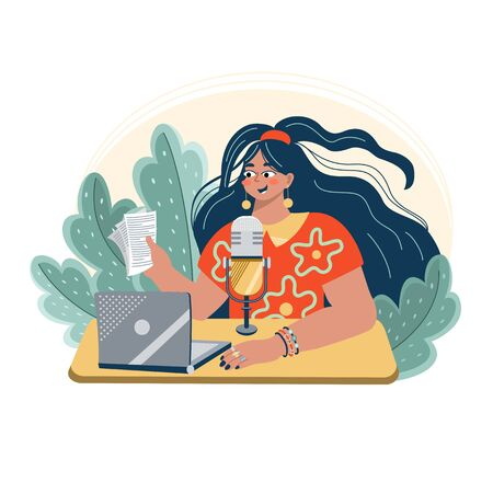 Young woman with microphone are sitting on a laptop. Radio host sitting at the table. Female podcaster holding a paper with podcast script. Broadcaster at workspace. Vector flat illustration. Vector Illustratie