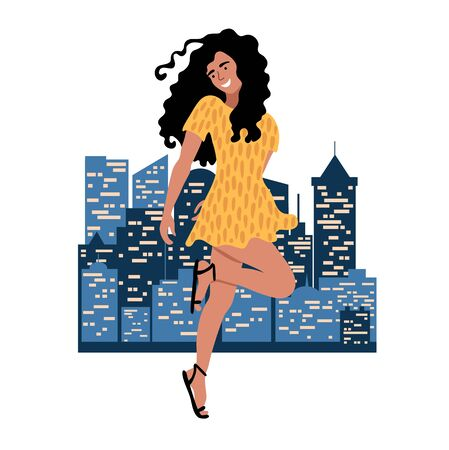 Young dancing woman with curvy hair in yellow dress on the background of the night city. Happy girl drawing in flat style. International Women's Day. Vector illustration isolated on white.