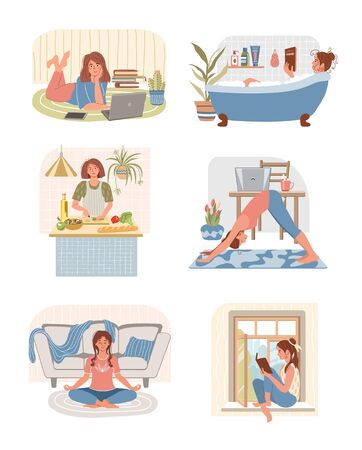 Set of young women doing different home activities: working, studying, doing exercises, cooking, takes a bath, meditating, reading a book in modern interior. Stay home concept. Happy people at home. Vector illustration in flat style