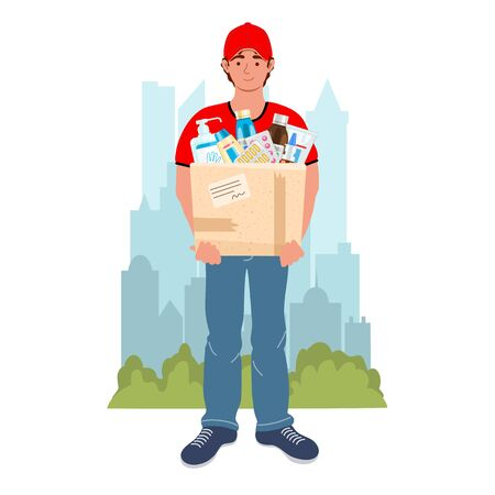 Medicine courier with medical purchases on the city background. Male courier character with drugs. Safety home and quarantine concept. Delivery and service concept. Vector illustration in flat style. Иллюстрация