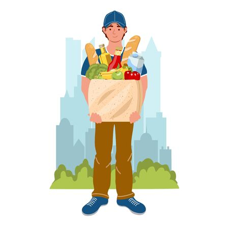 Courier with the product package on the city background. Male courier character with food. Safety home and quarantine concept. Vector illustration in flat style. Delivery and service concept.