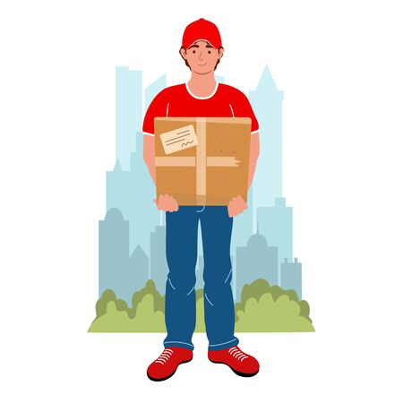 Courier with the package on the city background. Male courier character with box. Safety home and quarantine concept. Vector illustration in flat style. Delivery and service concept.