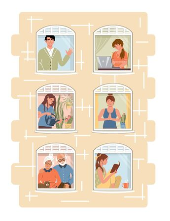 Smiling people do different pleasant things at home. People stay home to protect from viruses. People staying by the window. Social isolation. Vector illustration drawing in flat style