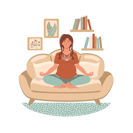 Young pregnant woman meditating and sitting in lotus at home in modern interior. Home activity. Stay home concept. Illustration for yoga, meditation, relax and healthy lifestyle. Vector illustration in flat style   Illustration