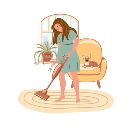 Cartoon pregnant woman is cleaning room at home with a vacuum cleaner on the window background. Stay home and virus quarantine concept.  Happy pregnancy. Vector illustration in flat style Vectores