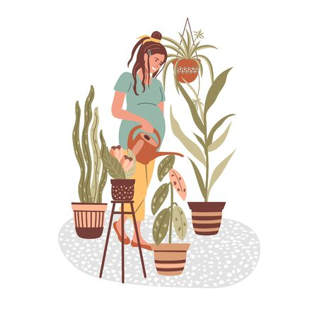 Cartoon pregnant woman holds a watering can and watering flowers at home. Happy pregnancy. Indoor gardening or plant growing. Stay home concept. Vector illustration in flat style