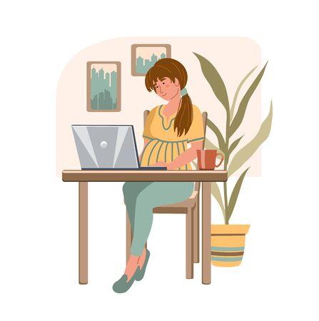 Cartoon pregnant woman with laptop working from home. Happy pregnancy. Girl sitting in modern interior. Home office concept. People who study or work at home. Vector illustration in flat style. Illustration