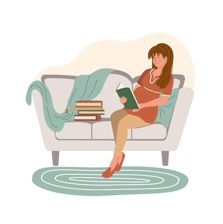 Cartoon pregnant woman reading a book and sitting on the sofa in modern interior. Happy pregnancy. Home activity. Stay home and virus quarantine concept. Vector illustration drawing in flat style
