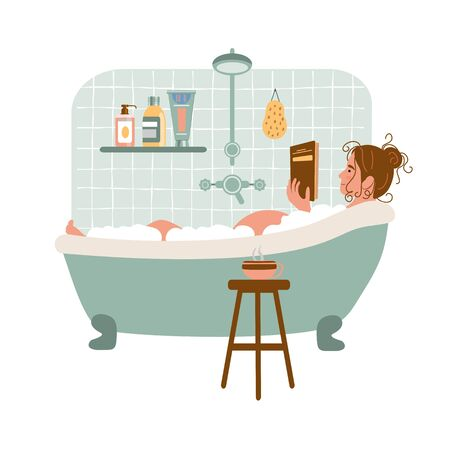 Cartoon pregnant woman relaxes in bath and reads book. Happy pregnancy. Daily life and everyday routine. Cozy bathroom with home plants and cup of tea. Vector illustration in flat style. Vectores