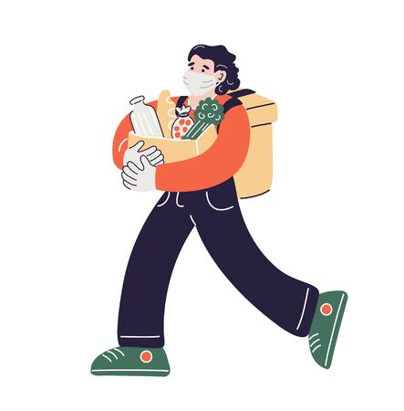 Delivery man wearing medical mask and gloves with a product package. Courier with a backpack delivers food. Safe delivery concept. Vector illustration in flat style.