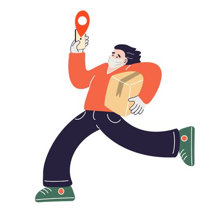Delivery man wearing medical mask and gloves. Courier holds a phone and runs with the order. Safety delivery concept. Vector illustration in flat style. Illustration